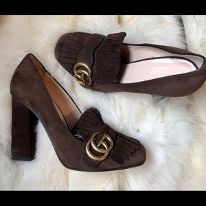 GUCCI Marmont brown high heel